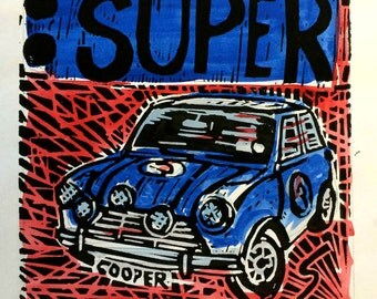 Mini Cooper art print //  Mini Cooper, Mini Cooper S, classic car,  art, car linocut print, gifts for him, gifts for boys
