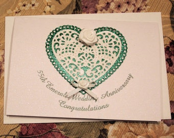 55th Emerald Wedding Sparkling Glitter Congratulatory Card with Lace Hearts Flowers and Ribbon Bow