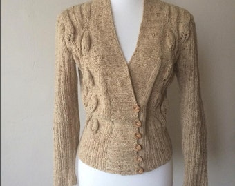 1950s Handmade Knit Oatmeal Cardigan
