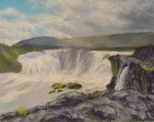 ICELAND Art in Godafoss WATERFALL Landscape Original 8.5 x 11.5 pastel painting by Sharon Weiss