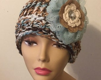 Brown and Teal Sloppy Bun hat