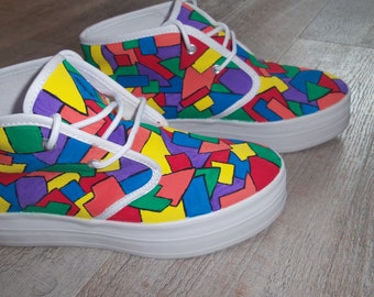 Colorful, hand-painted sneakers with 2 cm. platform shoes size 39