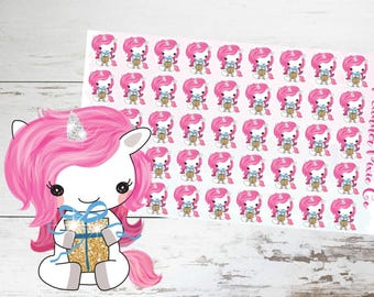 Suki the Unicorn // Planner Stickers // Unicorn Planner Stickers // Birthday Planner Stickers // Presents