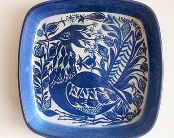 Marianne Johnson for Aluminia - Blue Faience Dish with Bird - Danish Design Mid Century Modern