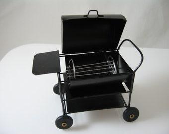 Miniature dolls house steel BBQ