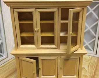 Dolls House Miniature Pine Display Cabinet