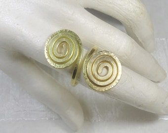 Free shipping / spiral ring, brass ring, brass ring!