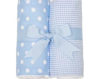 Monogrammed Pastel Blue Dot Burp Cloth Set