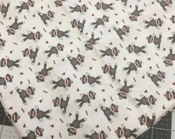 SOCK MONKEY Fabric, sock monkey fabric remnant, monkey fabric scraps, monkey fabric, sock monkey quilting fabric, sewing and quilting supply