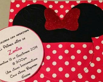 Minnie mouse red and black birthday invitation