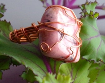Eos-copper ring with stone, copper wire wrapped ring handmade jewelry size 6