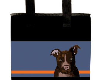 Reuseable Market Bag - Made from Recycled Materials - Eco-Friendly - Washable - Grocery Bag - Pitbull - Dog - Brown