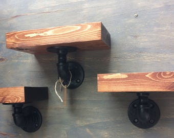 Industrial Rustic Urban Pipe Shelves, Steampunk Shelves, Black Iron Shelves, Rustic Shelves (Set of 3)