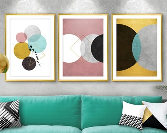 Set Of 3 Giclee Prints, Modern Wall Art, Giclee Print Set, Office Decor