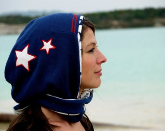 G OODIE hood, Cap, scarf in one, Star, blue hood with stars and red accents, cool hat, custom headwear