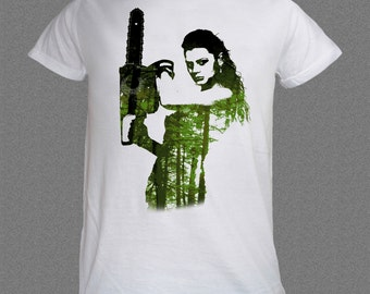 Girl with Chainsaw Save the Trees Nature funny T-shirt