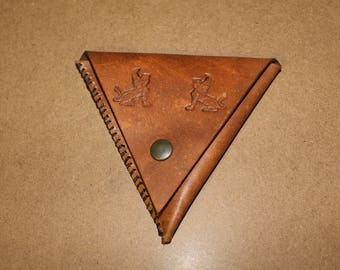 Leather Triangle Coin Purse LARGE