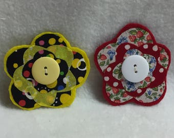 Flower Hair Clips - Set of 2 (#001.3)