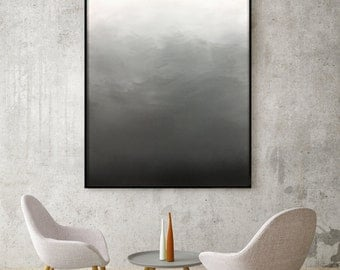 Abstract Black White Grey Ombre Painting Living Room Art Bedroom Art Dining Room Painting Ombre Black White Modern Ombre Black White Ombre