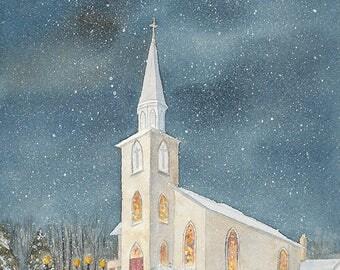 church, Christmas Eve, snow, watercolour church, Lutheran, Hespeler, giclee print, wall art, decor, night time