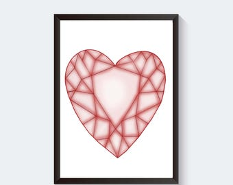Gem Heart Art Print, Heart Wall Art, Heart Wall Decor, Cute Wall Art, Home Wall Decor, Digital Art Print,  Instant Download, Digital File