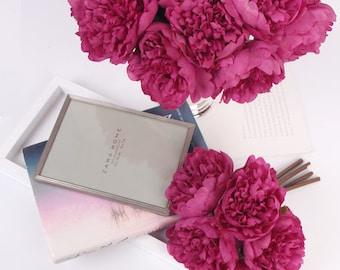 "Luxury Silk 5 Peony Bouquet in Dark Pink 10"" Tall"