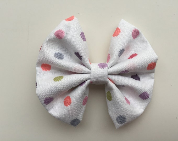 Multicolor dot dots fabric hair bow or bow tie