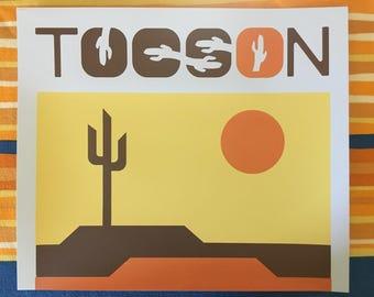 Cactus Print, Tucson Print, Cactus Screenprint, Saguaro Print, Sonoran Art, Cactus Art
