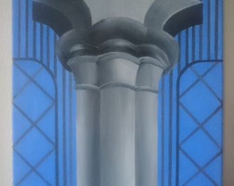 Original painting on canvas, contemporary art of architectural detail