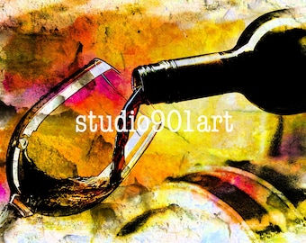 Vin Rouge, Modern Wine Art, Wine Decor, Wine Lovers, Housewarming Gift, Wine Enthusiast, Home Decor, Wine Art Print