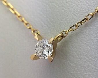 Necklace/gold 750 / diamond/perfect/miniature jewelry gift.