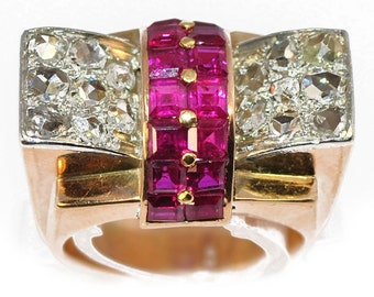 Ring Tank gold yellow 18K Platinum Diamond and Ruby
