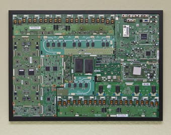 """Industrial, Computer, Circuit Board Picture Frame Wall Art (28.5"""" x 20.5"""")"""