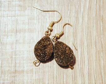 Druzy gold earrings