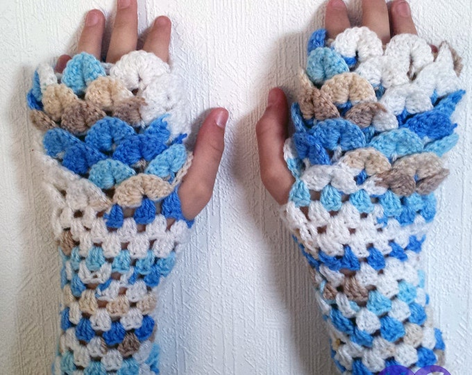Dragon Scale, Dragonscale Fingerless Gloves, crochet wrist, hand, arm warmers, texting gauntlet, mermaid cuffs