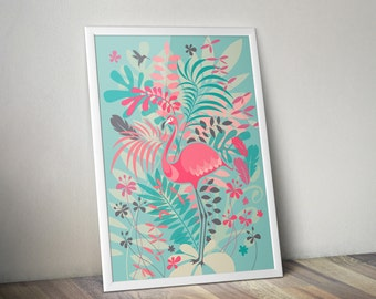 Flamingo Pink Blue poster