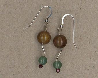 Agate, Aventurine, and Garnet, Silver Swirl Earrings