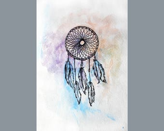 Watercolor Dreamcatcher Print - Boho Print Dreamcatcher Poster Dreamcatcher Card Dream Catcher