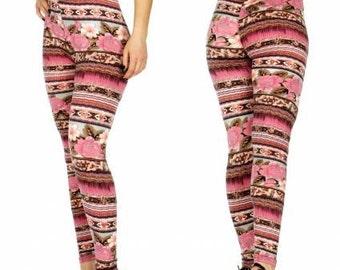 Pink Floral Leggings Pink Striped Leggings Flower Leggings Pink Leggings Yoga Leggings Floral Print Leggings Womens Yoga FREE U.S. SHIPPING