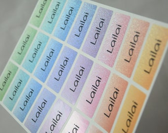 Waterproof Name Labels Name Stickers personalized glittery gradation, glitter labels, glitter label,personalized name tags, Rainbow, MEDIUM