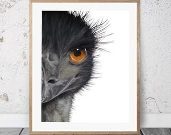 Emu - Art Print, Oil painting, Emu painting, Emu print, animal nursery art, nursery decor, wall art, animal print, animal painting, emu