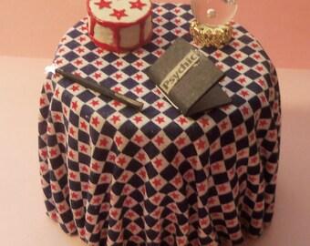 Dollhouse Miniature Psychic Table w/Crystal Ball, Wand, Book & Cake 1:12 Scale, Handmade