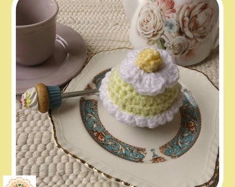 Crochet Cupcake, Faux Cupcake, Fake Cupcake, Lemon Crochet Cupcake, Kids Play Cupcake, Kids Play Food, Children's Play Food, Pretend Food
