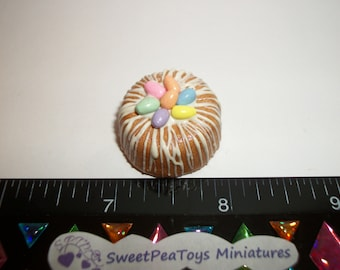 1:12 One Inch Scale Dollhouse Miniature Handcrafted Easter Egg Bundt Dessert Cake