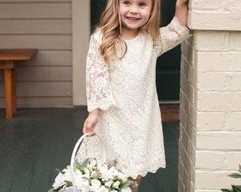 Ivory lace flower girl dress etsy wedding