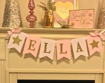 Twinkle Twinkle Little Star First Birthday. Pink and Gold Glitter 1st Birthday . Pink and Gold 1st Birthday.Gold  1st Birthday Banner