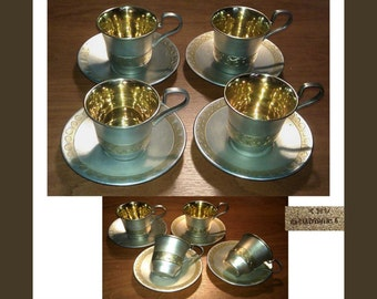 Four Vintage cups and saucers, silver plated coffee cups and saucers, Russian USSR origin, video here - https://youtu.be/g66q8ZgAtTY