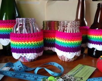 Neon Rainbow with Clouds Cup Cuff S, M, & L sizes