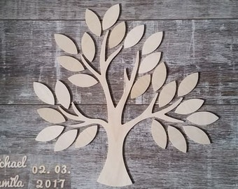 Wedding tree - guestbook wedding wedding tree from wood personalized type 10-25 guests