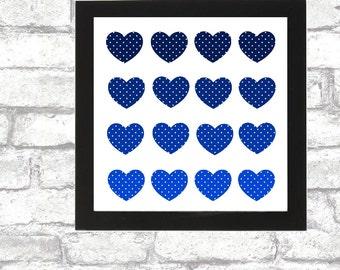 Blue Polka Hearts printable wall art calligraphy wall print love romantic 8x8